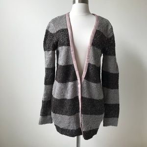 Hinge Nubby Knit Striped Snap Front Cardigan